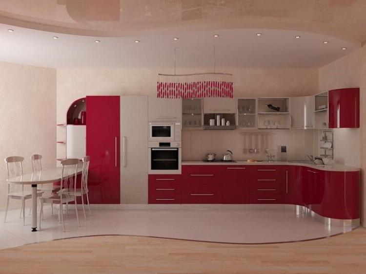Комбинированный пол в кухне