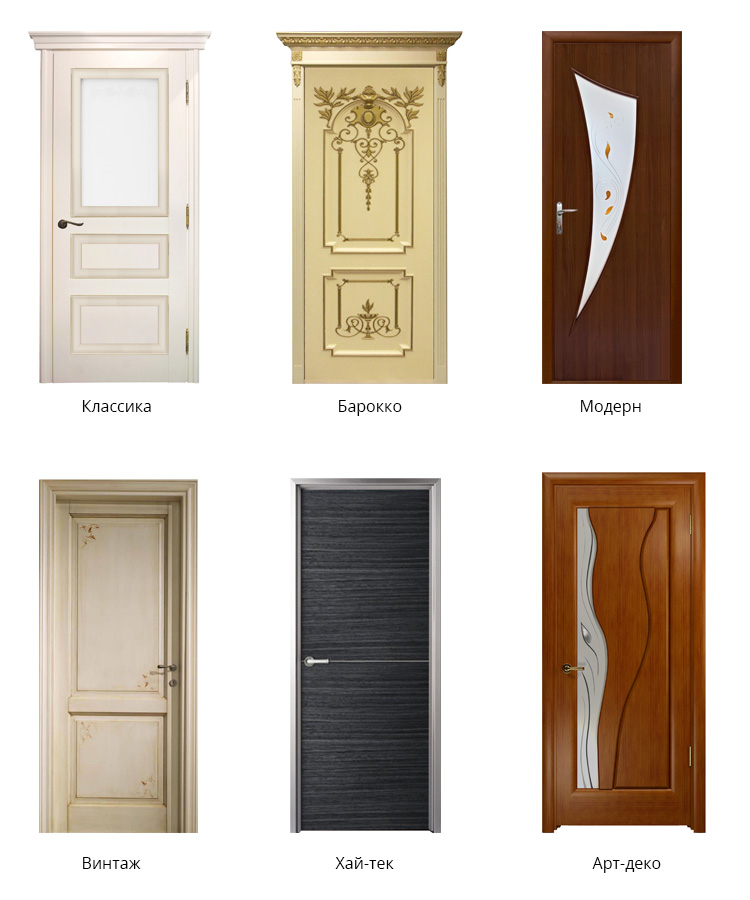 Стили межкомнатных дверей — классика, барокко, модерн, винтаж, хай-тек, арт-деко