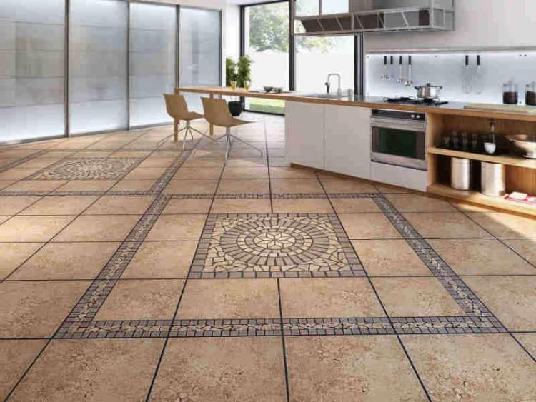 Плиточный пол в кухне