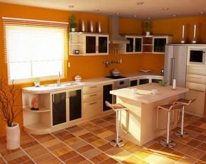 Плиточный кухонный пол