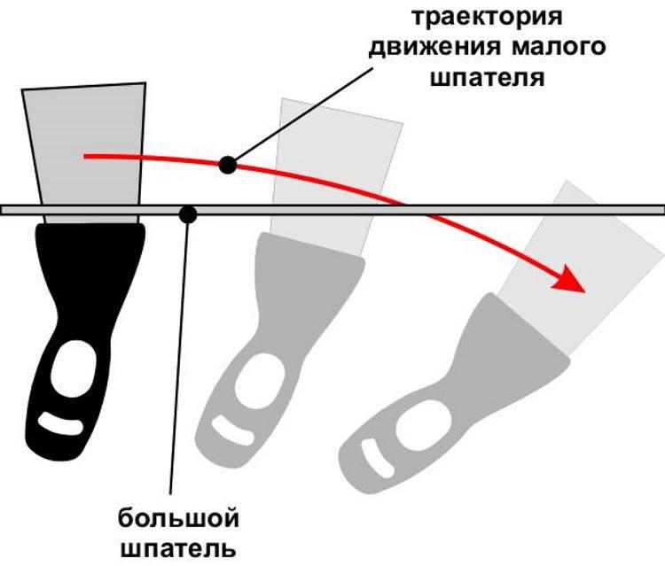 Нанесение шпаклевки на большой шпатель