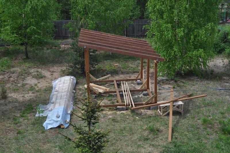 Беседки из дерева своими руками с односкатной крышей